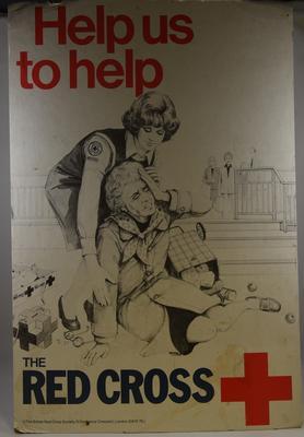 Cardboard British Red Cross Society display poster, 'Help Us to Help.'