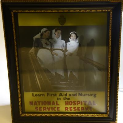 Illuminated recruiting poster: Learn First Aid and Nursing in the National Hospital Service Reserve