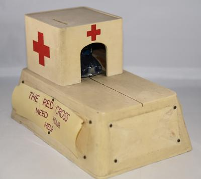British Red Cross mechanical collecting box with roll out model ambulance; Fundraising/collecting box; 1428/2