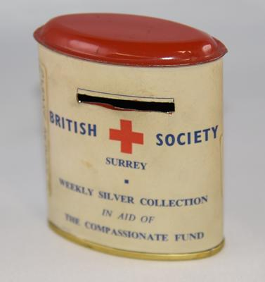 British Red Cross 'Weekly Silver Collection in Aid of the Compassionate Fund' collecting tin