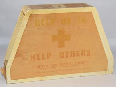 British Red Cross wooden collecting box: 'Help Us to Help Others'