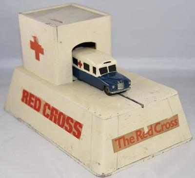 British Red Cross mechanical collecting box with roll out model ambulance; Fundraising/collecting box; 1632/1