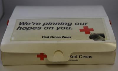 "British Red Cross Week Collectors pin tray: ""We're pinning our hopes on you"""