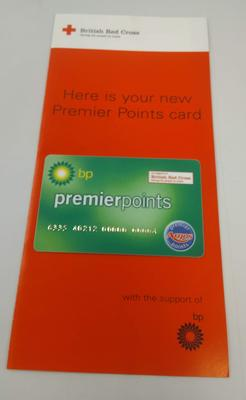 British Red Cross Premier Points reward card mounted on associated Red Cross information leaflet