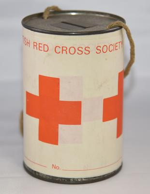 Cylindrical collecting tin with string handle