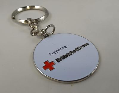 Round, Red Cross branded metal key ring