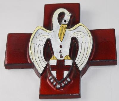 Ceramic Red Cross emblem with pelican motif