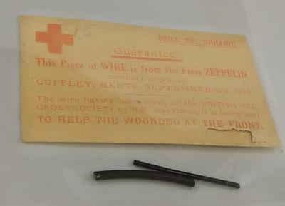 Two pieces of zeppelin wire sold in aid of the British Red Cross during the First World War