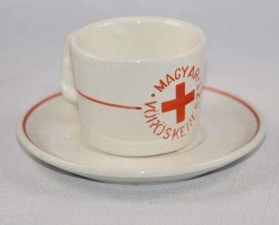 Souvenir coffee cup and saucer: Hungarian Red Cross (Magyar Voroskereszt)