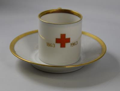 Commemorative coffee cup and saucer produced for the centenary of the International Red Cross 1963.