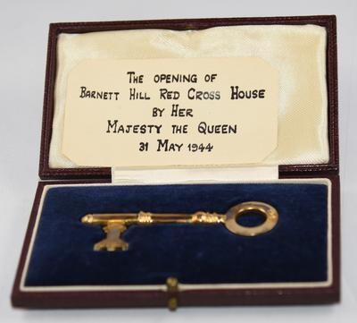 The master key to Barnett Hill used by H.M. Queen Elizabeth at the opening ceremony, 1944