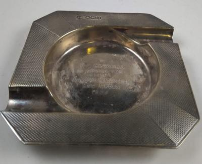 Small silver hallmarked ashtray, engraved: 'To P.C. Creamer'