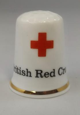 Thimble marked with the Red Cross emblem
