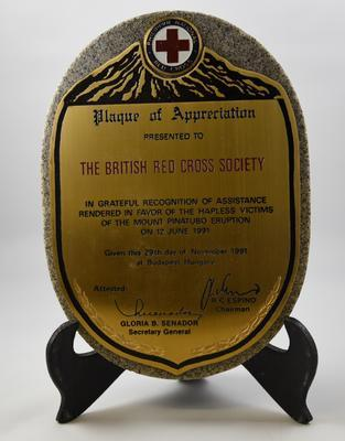 Plaque presented to The British Red Cross Society in recognition of assistance after the Mount Pinatubo eruption, 1991