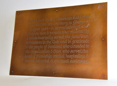 Large metal plaque gifted by the American Red Cross