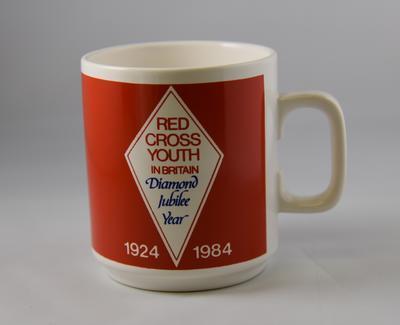 "Mug: ""Red Cross Youth in Britain Diamond Jubilee Year 1924-1974"""