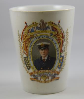 Ceramic mug celebrating the investiture of HRH Prince Edward as Prince of Wales by HM King George V