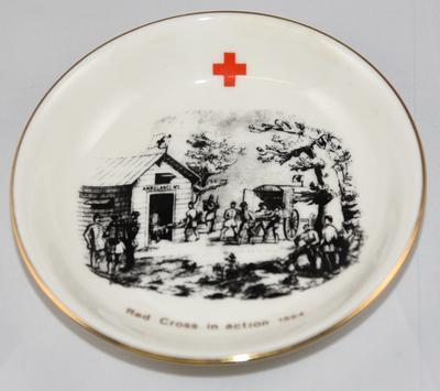Commemorative dish: 'Red Cross in Action 1864'