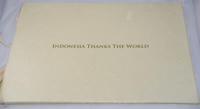Certificate of thanks given to the British Red Cross in 2008 for assistance provided following the Indian Ocean Tsunami, 2004: 'Indonesia Thanks the World'