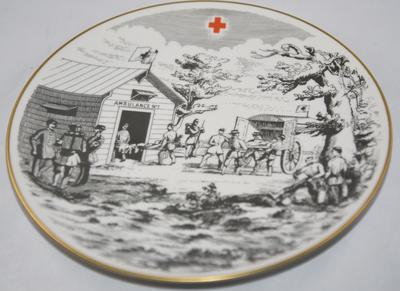 Commemorative illustrated plate: Norwegian Red Cross