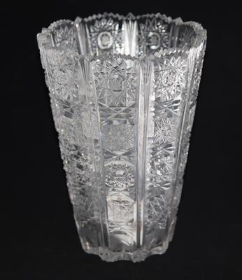 Hand cut glass vase