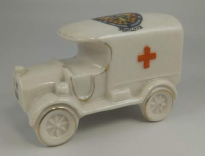 China ambulance with Geneva cross (elongated) and 'Matlock' coat of arms