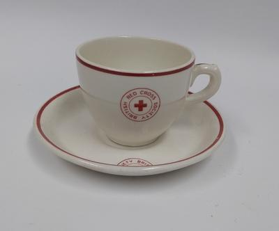 British Red Cross Society branded cup and saucer