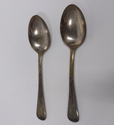 Two silver-plated teaspoons engraved with 'Red Cross & St John'