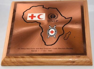 Commemorative Plaque: 1st Africa Red Cross & Red Crescent Youth Directors Meeting, 1990