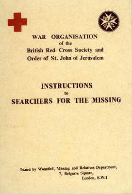 laminated copy of Joint War Organisation publication, 'Instructions to searchers for the Missing'