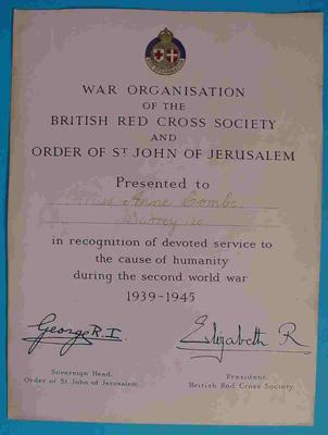 British Red Cross certificate awarded for devoted service to the Joint War Organisation during Second World War