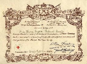 Certificate awarded to Miss Jennie Griffiths Bodawel Groeston having attended a British Red Cross Home Nursing course and examined April 11th 1916.