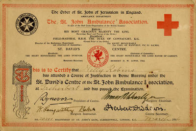 Order of St John of Jerusalem Nursing Certificate for Nelly Robins, March 1916