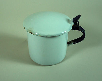 Enamel sputum mug made by Kockums of Sweden
