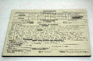 Mounted reproduction of a form containing information about a missing officer