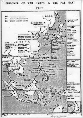 Laminated A4 copy of a map showing Prisoner of War Camps in the Far East during Second World War