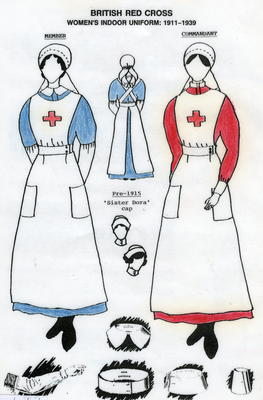 Laminated A4 illustrated information sheet detailing the uniform worn by British Red Cross female VADs 1911-1939
