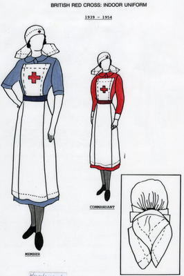 Laminated illustrated A4 information sheet detailing the uniform worn by British Red Cross female VADs beteen 1939 and 1954.
