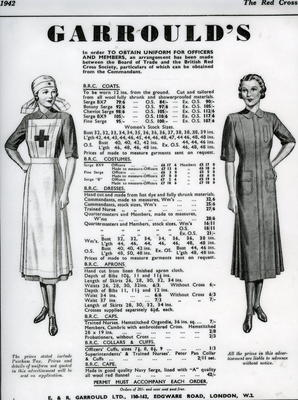 Laminated illustrated A4 advertisement for British Red Cross uniforms and accessories including measurements and prices.
