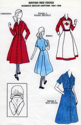 laminated illustrated A4 information sheet detailing the uniforms worn by British Red Cross female VADs between 1954 and 1966.