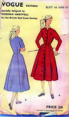 Laminated sheet: Vogue Pattern for Norman Hartnell indoor uniform dress