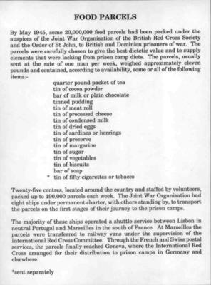 Laminated sheet of A4 paper containing facts about Prisoner of War Parcels during the Second World War