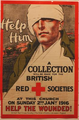 Laminated reproduction (small scale) of Tom Purvis 'Help Him' poster, 1916