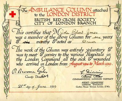 Laminated reproduction of John Robert Jones's membership certificate of the London Ambulance Column, 1919