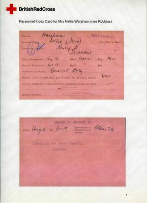 Laminated reproduction of Nelly Robins record of service card