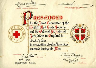 Laminated reproduction of the War Service Certificate of John Jones, 1919