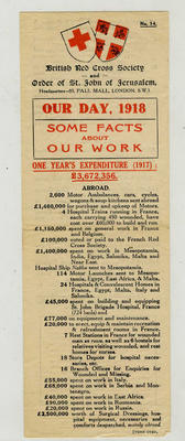 Laminated reproduction of the fundraising leaflet 'Our Day 1918 Some Facts About Our Work'