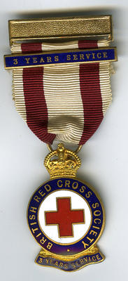3 Year service badge suspended from red and white ribbon, with additional 3 year bar.