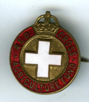 British Red Cross Agriculture Fund badge with white Geneva cross