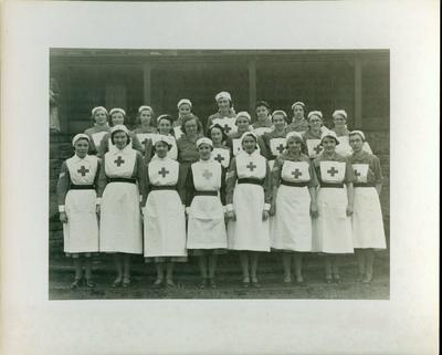 photograph of female VADs in indoor uniform